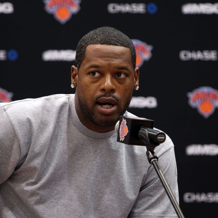 Marcus Camby of the New York Knicks is introduced during a press conference on July 12, 2012 at the MSG Training Facility in Tarrytown, New York.