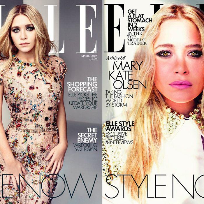 Ashley & Mary Kate's <em>Elle</em> UK covers, respectively.