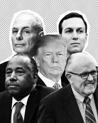 Donald Trump, Jared Kushner, Rudy Giuliani, Ben Carson, John Kelly.