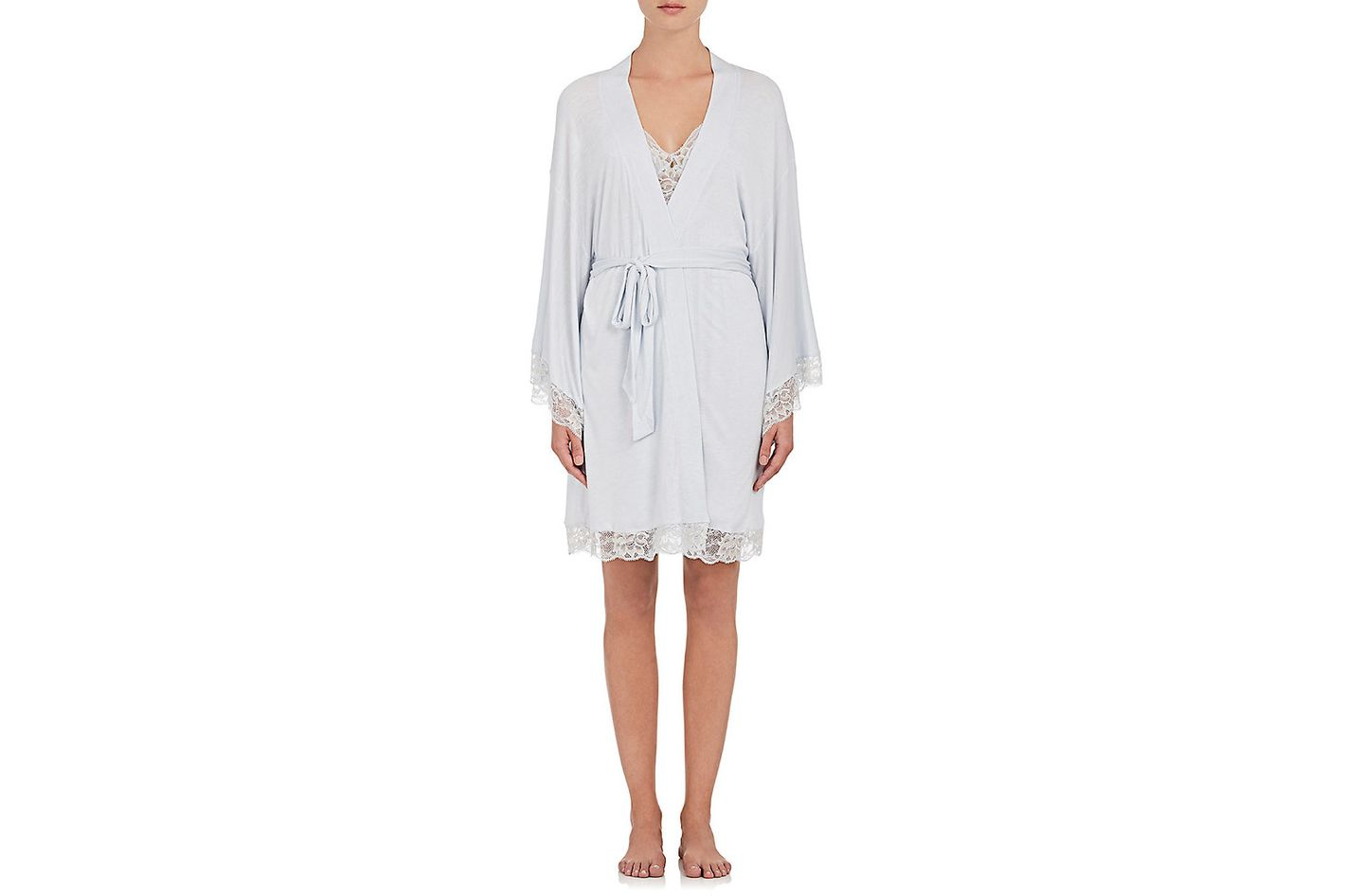 Eberjey Golden Girl Lace-Trimmed Jersey Kimono Robe