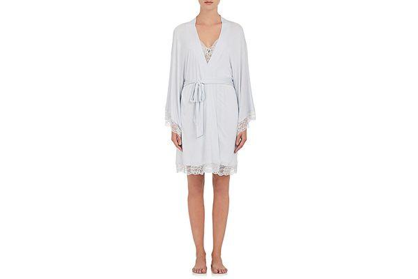 Eberjey Golden Girl Lace-Trimmed Jersey Kimono Robe