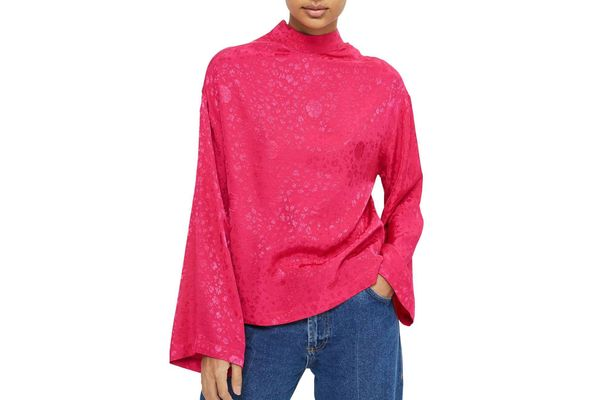 Topshop Jacquard Kimono Sleeve Top