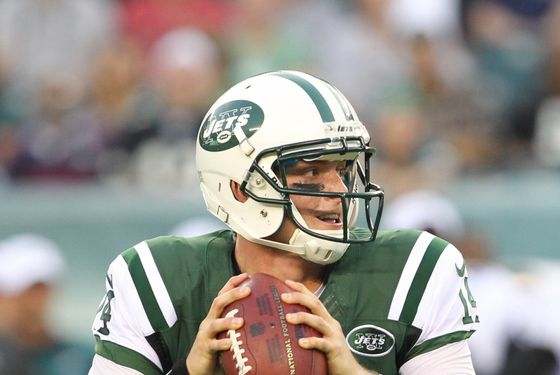 PHILADELPHIA - AUGUST 30: Quarterback  Greg McElroy #14 of the New York Jets drops back to pass during a preseason game against the Philadelphia Eagles on August 30, 2012 at Lincoln Financial Field in Philadelphia, Pennsylvania. (Photo by Hunter Martin/Philadelphia Eagles/Getty Images)