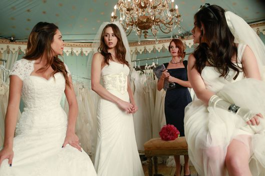 "PRETTY LITTLE LIARS - ""Unbridled"" - With disturbing questions surrounding Mrs. DiLaurentis, the four girls participate in a charity bridal fashion show to try and get answers, in ""Unbridled,"" an all-new episode of ABC Family's hit original series ""Pretty Little Liars,"" airing Tuesday, March 11th."