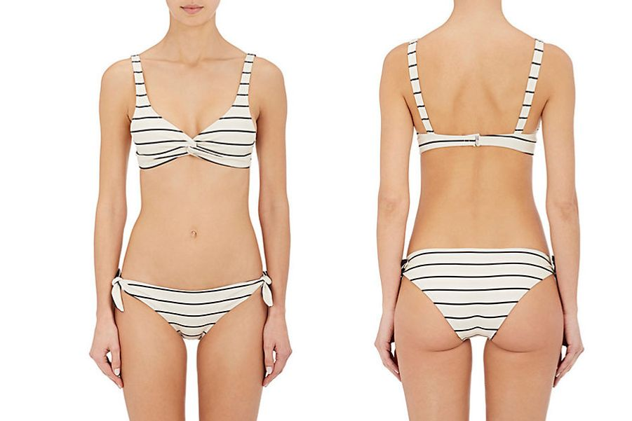 Solid & Striped Jane Striped Microfiber Twist Bikini Top