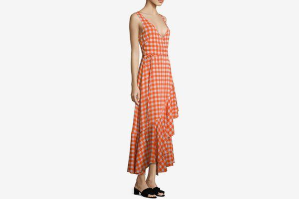 Diane von Furstenberg Gingham Asymmetrical Ruffled Midi Dress