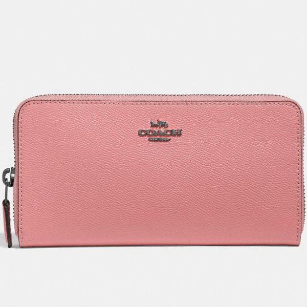COACH Accordion Zip Wallet, Pewter/Vintage Pink
