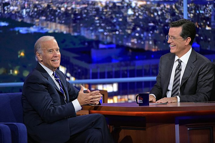 Stephen talks with Vice President Joe Biden, on The Late Show with Stephen Colbert, Thursday Sept 10, 2015 on the CBS Television Network. Photo: John Paul Filo/CBS ©2015CBS Broadcasting Inc. All Rights Reserved
