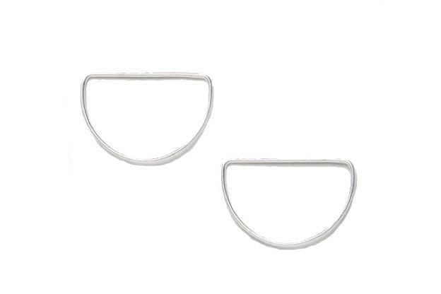 Sterling Silver Open Semi Circle Stud Earrings