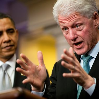 Former President Bill Clinton (R) speaks with US President Barack Obama (L) in the White House Briefing Room in Washington, DC, December 10, 2010, after a private meeting in the Oval Office.                   AFP PHOTO/Jim WATSON (Photo credit should read JIM WATSON/AFP/Getty Images)