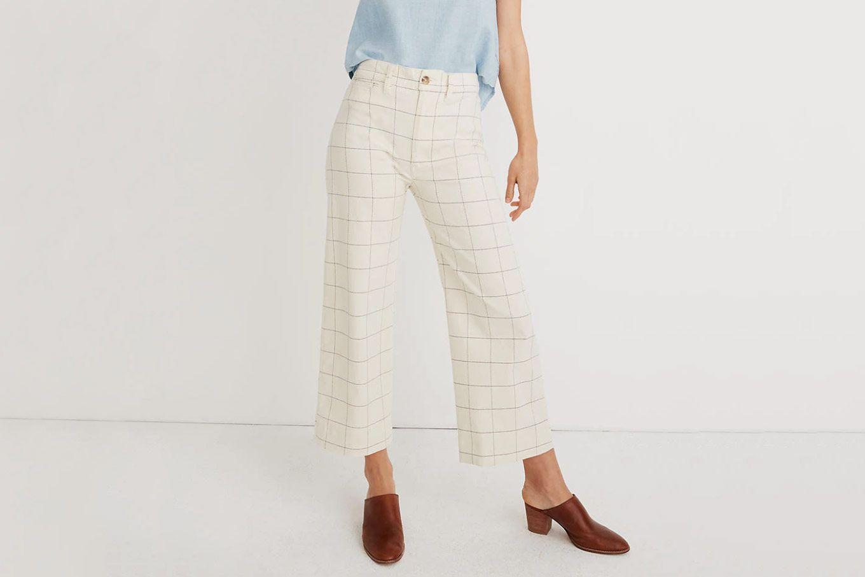Madewell Emmett Wide-Leg Crop Pants in Windowpane