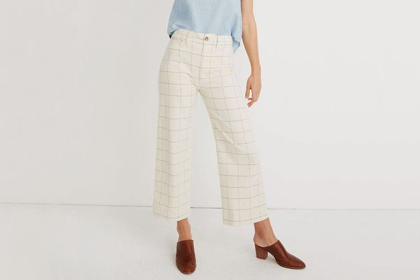 Madewell Emmett Wide-Leg Crop Pants in Windowpane