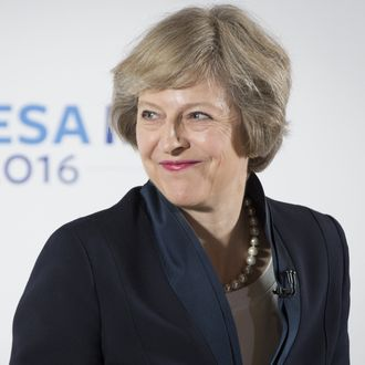U.K. Home Secretary Theresa May News Conference As She Pledges Corporate Crackdown