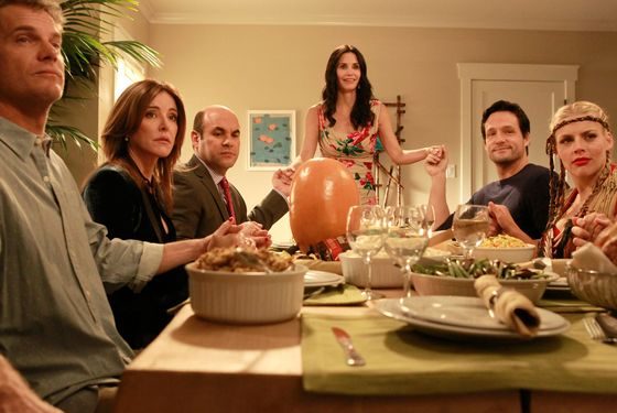 "COUGAR TOWN - ""It'll All Work Out"" - When Jules realizes that the cul-de-sac crew didn't celebrate Thanksgiving together, she decides to celebrate the holiday, even though it's spring. But the family spirit is shattered, in more ways th"