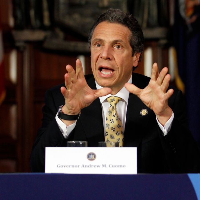 New York Gov. Andrew Cuomo speaks during a NY SUNY2020 meeting at the Capitol in Albany, N.Y., on Wednesday, April 25, 2012.