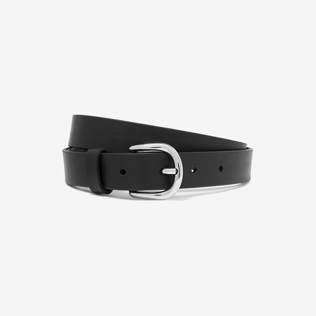 Handmade Black Leather Logo Belts Fashion Leather Steel Accessory Buckle Belts