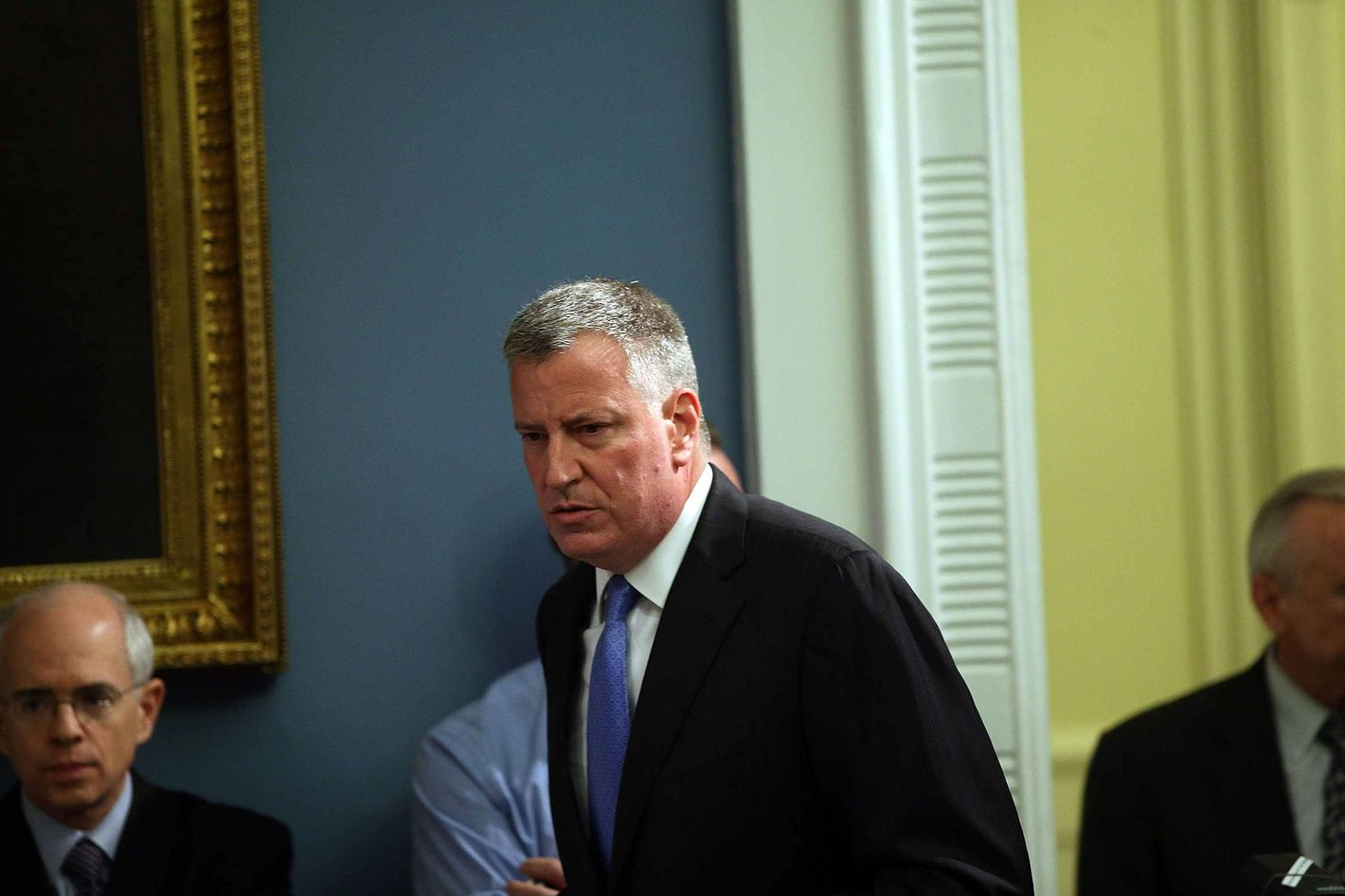 NEW YORK, NY - JULY 18:  New York Mayor Bill de Blasio enters a news conference to address the recent death of a man in police custody on July 18, 2014 in New York City. The mayor has promised a full investigation into the circumstances surrounding the death of Eric Garner after he was taken into police custody in Staten Island yesterday. A 400-pound, 6-foot-4 asthmatic, Garner (43) died after police put him in a chokehold outside of a conveinence store for illegally selling cigarettes.  (Photo by Spencer Platt/Getty Images)