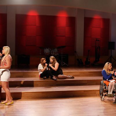 THE GLEE PROJECT -- Episode 209 -- Pictured: (l-r) Michael Weisman, Shanna Henderson, Aylin Bayramoglu, Lily Mae Harrington, Ali Stroker, Blake Jenner -- (Photo by: Tyler Golden/NBC)