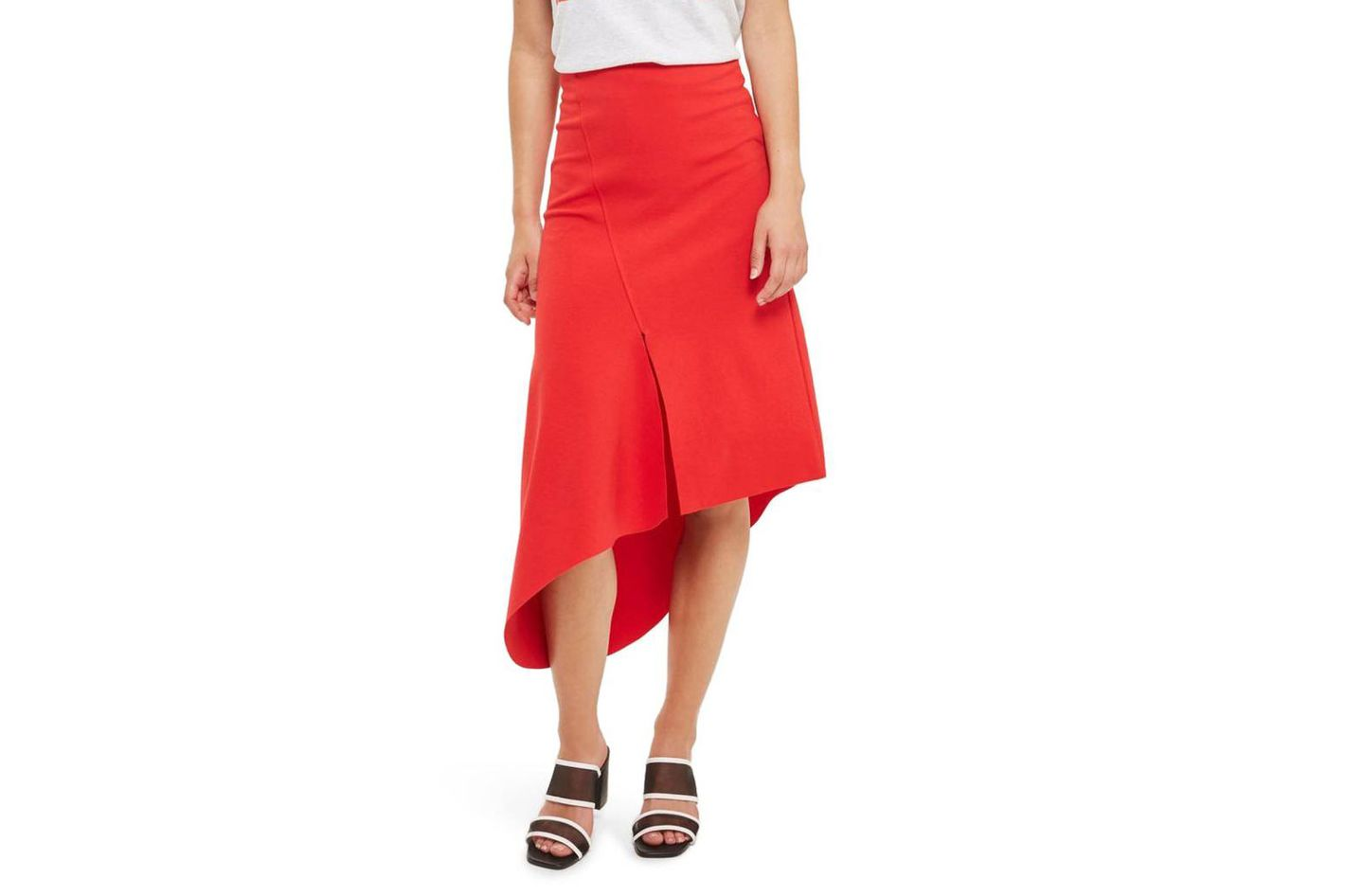 Asymmetric Split Jersey Midi Skirt