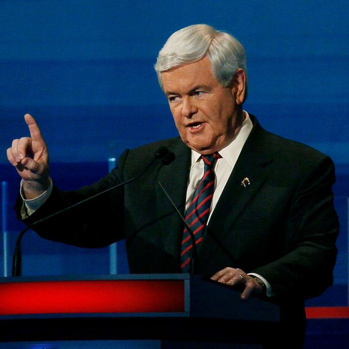 Republican presidential candidate, former U.S. House Speaker Newt Gingrich (R-GA), speaks during a Fox News, Wall Street Journal sponsored debate