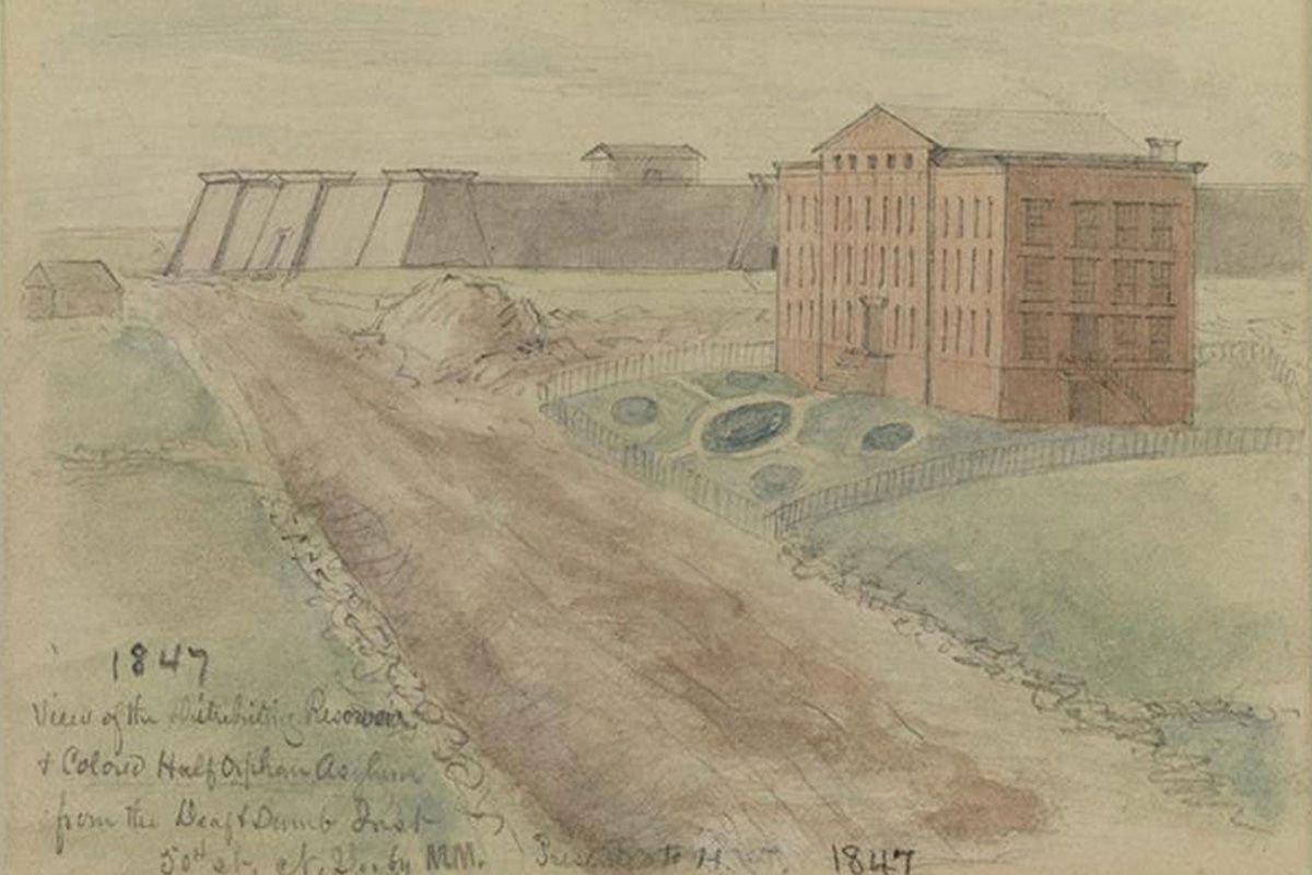 "<span class=""clay-designed kiln-phrase"">1847</span>42nd Street and Fifth Avenue. The Colored Orphan Asylum on Fifth Avenue is in the foreground. The Croton Reservoir, as seen from the northeast side, is in the distance."