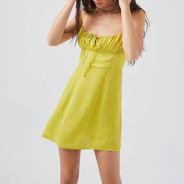 UO Kamaryn Tie-Front Mini Dress