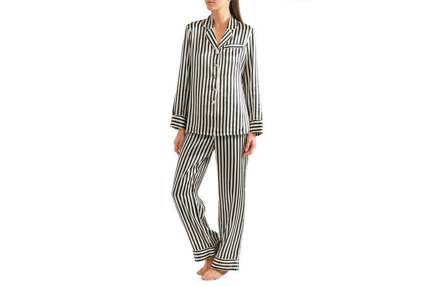 Oliva von Halle 'Lila' Striped Silk-Satin Pajama Set