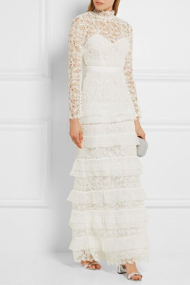 SELF-PORTRAIT Primrose crepon-trimmed guipure lace gown