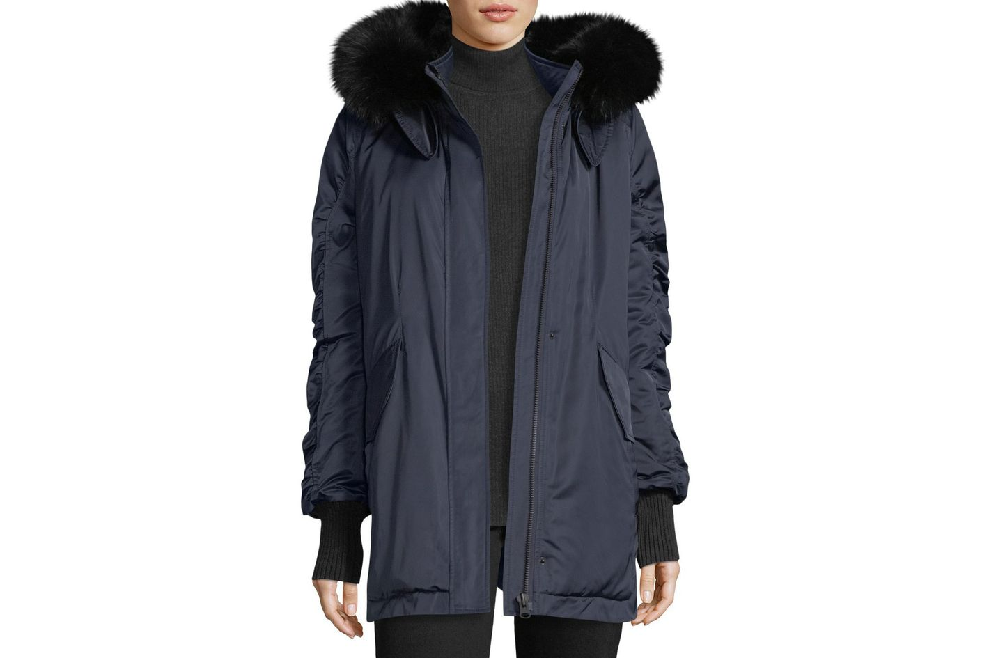 Derek Lam 10 Crosby Satin Ruched-Sleeves Anorak Jacket With Fox Fur