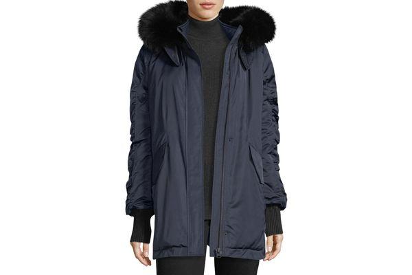 Derek Lam 10 Crosby Satin Ruched-Sleeves Anorak Jacket With Fox Fur