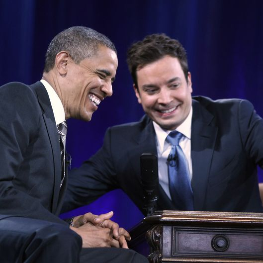 CHAPEL HILL, NC - APRIL 24: U.S. President Barack Obama speaks with host Jimmy Fallon during an appearance on Late Night with Jimmy Fallon at Memorial Hall on the UNC campus on April 24, 2012 in Chapel Hill, North Carolina. Obama made an earlier appearance on the campus as part of a effort to get Congress to prevent interest rates on student loans from doubling in July. (Photo by Chuck Liddy-Pool/Getty Images)