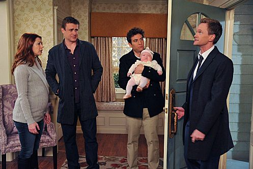 """The Rebound Girl"" -- Ted (Josh Radnor) and Barney (Neil Patrick Harris) discuss making a life-changing decision together, on HOW I MET YOUR MOTHER, Monday, Nov. 21 (8:00-8:30 PM, ET/PT) on the CBS Television Network. (L-R) Lily (Alyson Hannigan), Marshall (Jason Segel), Ted (Josh Radnor) and Barney (Neil Patrick Harris). Photo: Eric McCandless/FOX ©2011 FOX Television. All Rights Reserved."