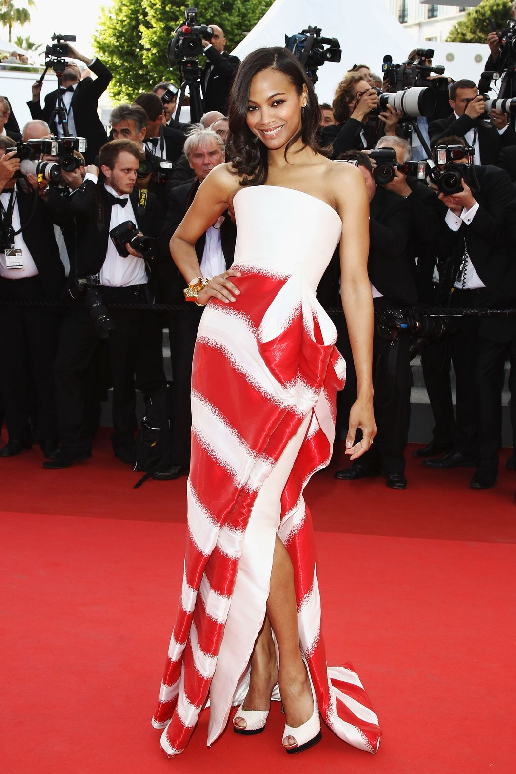 "CANNES, FRANCE - MAY 16:  Actress Zoe Saldana attends ""The Tree Of Life"" premiere during the 64th Annual Cannes Film Festival at Palais des Festivals on May 16, 2011 in Cannes, France.  (Photo by Andreas Rentz/Getty Images)"