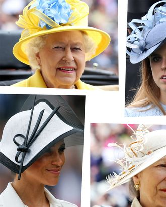 Clockwise from top left: Queen Elizabeth, Princess Eugenie, Princess Anne, Meghan Markle.