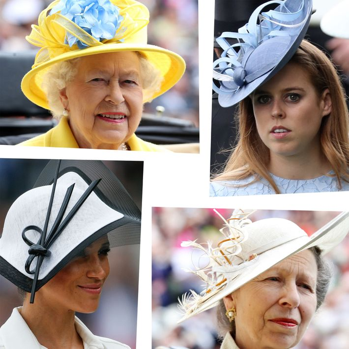 Clockwise from top left: Queen Elizabeth, Princess Eugenie, Princess Anne, Meghan Markle.