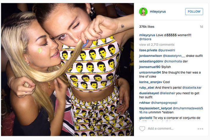 Rita Ora and Miley Cyrus.