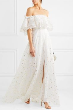 Temperly London Off-The-Shoulder Metallic Gown