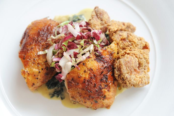 Roasted and fried chicken, kale, and radicchio.