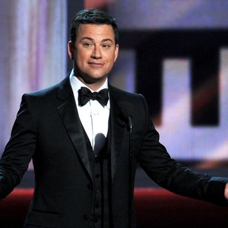 Host Jimmy Kimmel speaks onstage during the 64th Annual Primetime Emmy Awards at Nokia Theatre L.A. Live on September 23, 2012 in Los Angeles, California.