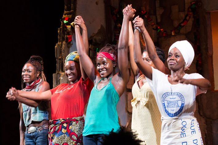 Lupita Nyong'o and the cast of <i>Eclipsed</i> on the show's opening night on Broadway.