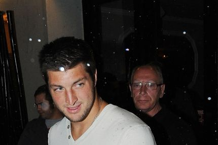 Tim Tebow leaving the Philippe Chow restaurant in Manhattan in the early hours of Sunday, March 25, 2012. This was Tebow's first night out in New York City since becoming a New York Jet last week. (Photo/Christopher Sadowski)<P>Pictured: Tim Tebow<P><B>Ref: SPL374263  250312  </B><BR/>Picture by: Christopher Sadowski/Splash News<BR/></P><P><B>Splash News and Pictures</B><BR/>Los Angeles:	310-821-2666<BR/>New York:	212-619-2666<BR/>London:	870-934-2666<BR/>photodesk@splashnews.com<BR/></P>