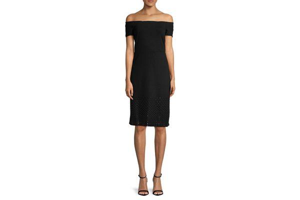 H Halston Embellished Off-Shoulder Ponte Sheath Dress