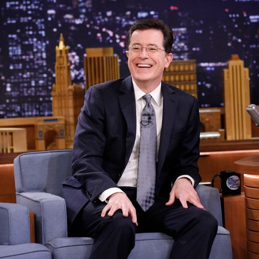 THE TONIGHT SHOW STARRING JIMMY FALLON -- Episode 0015 -- Pictured: Talk show host Stephen Colbert on March 7, 2014 -- (Photo by: Lloyd Bishop/NBC/NBCU Photo Bank)