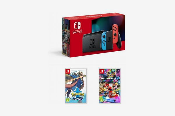 Nintendo Switch Neon Console (Improved Battery) with Pokemon Sword and Mario Kart 8 Deluxe