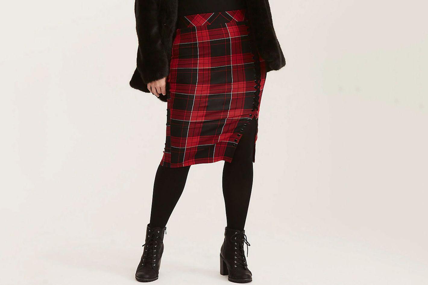 Plaid Ponte Lace Up Side Pencil Skirt