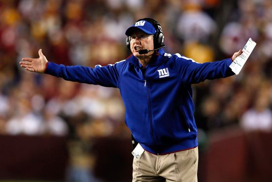 Head coach Tom Coughlin of the New York Giants reacts in the first quarter while taking on the Washington Redskins at FedExField on December 3, 2012 in Landover, Maryland.