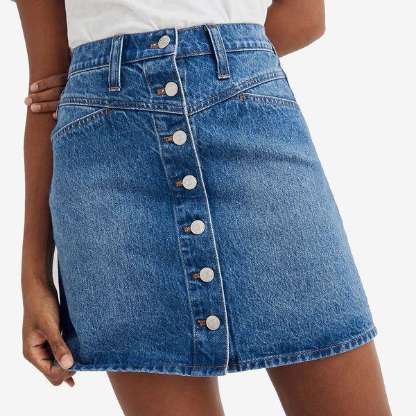 Madewell Stretch Denim A-Line Snap Mini Skirt