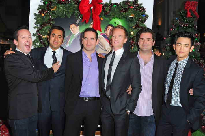 "HOLLYWOOD, CA - NOVEMBER 02:  Actor Tom Lennon, actor Kal Penn, writer Hayden Schlossberg, actor Neil Patrick Harris, writer Jon Hurwitz and actor John Cho arrive to the premiere of New Line Cinema's ""A Very Harold & Kumar 3D Christmas"" at Grauman's Chinese Theatre on November 2, 2011 in Hollywood, California.  (Photo by Alberto E. Rodriguez/Getty Images)"