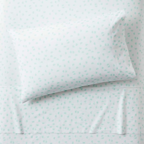 Crate and Barrel Organic Mint Half Moon Twin Sheet Set