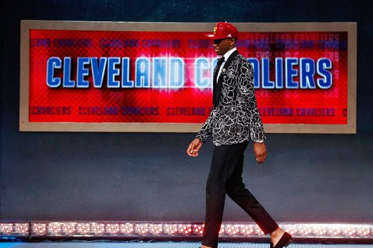 NEW YORK, NY - JUNE 26:  Andrew Wiggins walks off stage after being drafted #1 overall in the first round by the Cleveland Cavaliers during the 2014 NBA Draft at Barclays Center on June 26, 2014 in the Brooklyn borough of New York City. NOTE TO USER: User expressly acknowledges and agrees that, by downloading and/or using this Photograph, user is consenting to the terms and conditions of the Getty Images License Agreement.  (Photo by Mike Stobe/Getty Images)